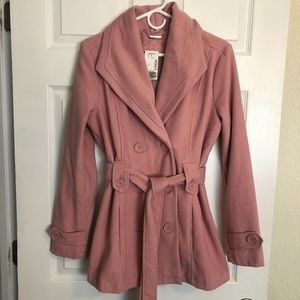 NWT JouJou Rose Pink Fully Lined Peacoat Double Breasted and Tie Front
